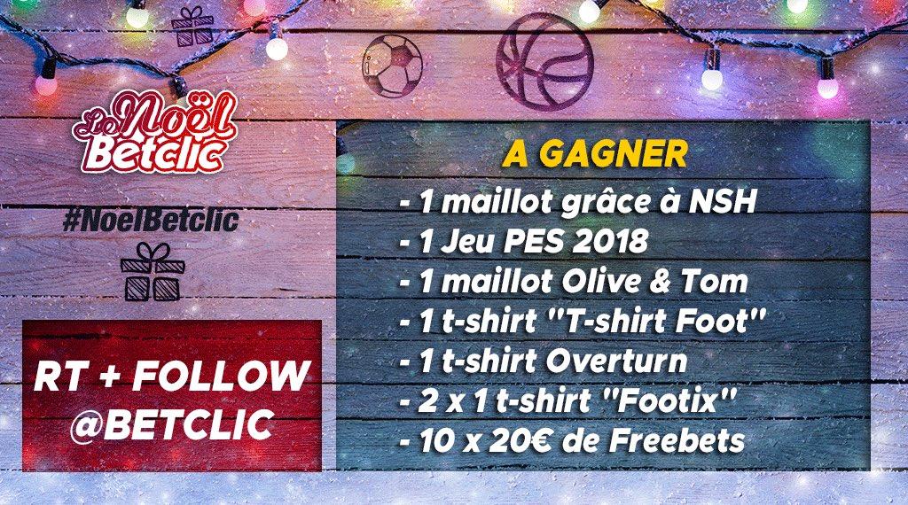 🎅 Grand jeu de Noël   ➡️ RT + Follow @Betclic pour participer   🎁  17 cadeaux à gagner par TAS : 1 maillot grâce à @NSHFootball 1 jeu PES 2018 1 maillot Olive & Tom 1 t-shirt  1 t@LeTshirtFoot-shirt  2 x@MyOverturn 1 t-shirt  10 @TShCornerx 20€ de Freebets   🍀 Bonne chance