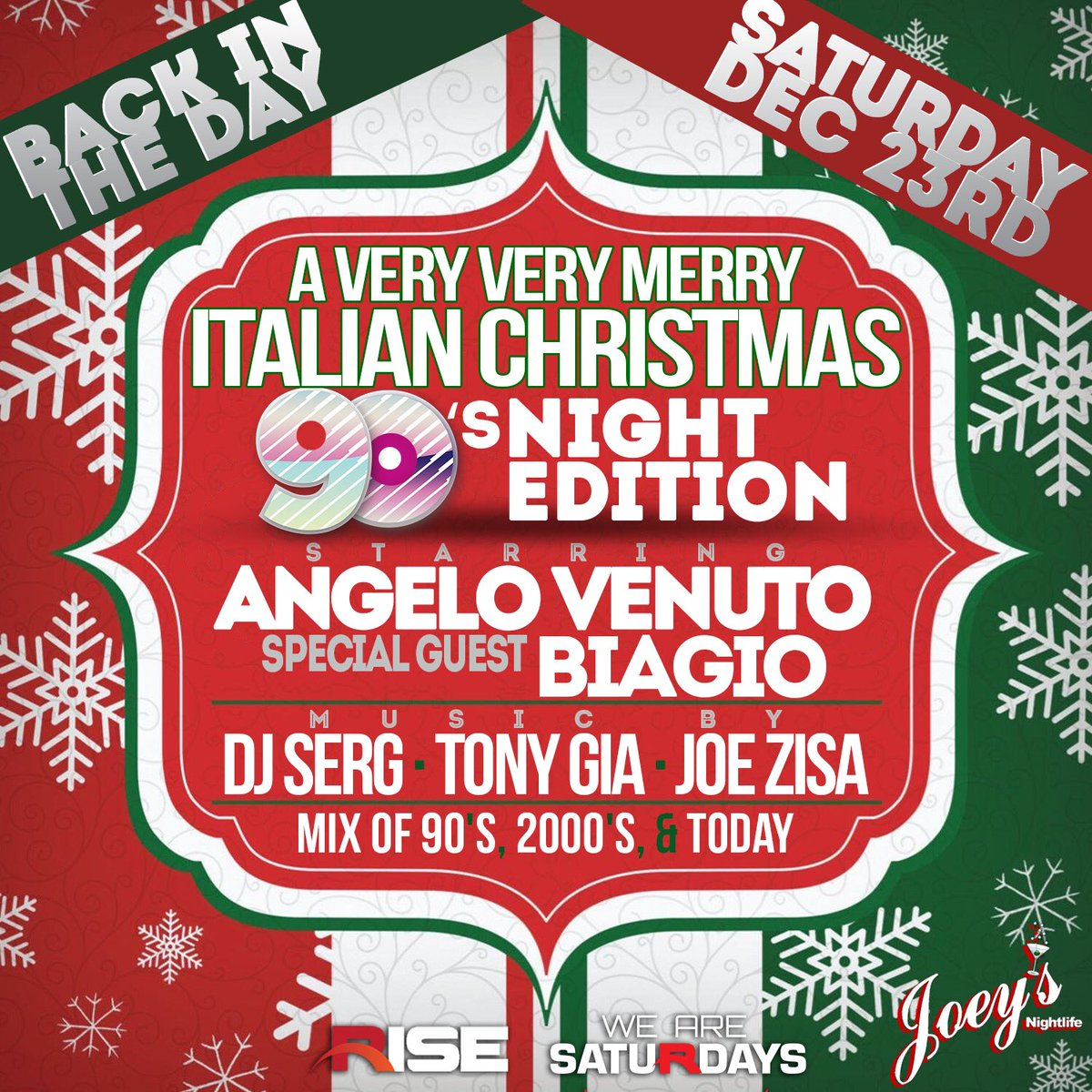 joey barcellona on twitter tonight italian christmas party 90s risesaturday starring angelovenuto live special guest biagio music by djsergnyc - Italian Christmas Music