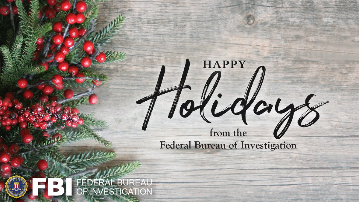 The #FBI wishes you a safe & happy holiday season!