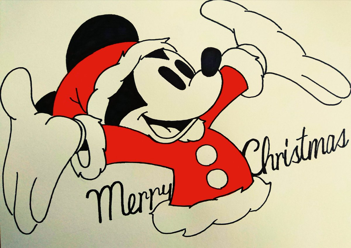 Hiro Sur Twitter 今月25日までにクリスマスイラストたくさん描くぞ 企画 その16 今日はクリスマス イブ ミッキーマウス