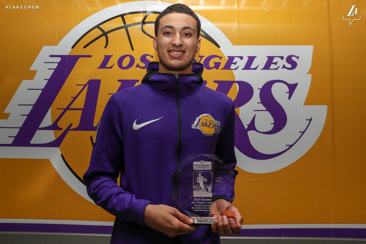 Kuz picks up his Rookie of the Month hardware.   Congrats @kylekuzma!! #KuzControl