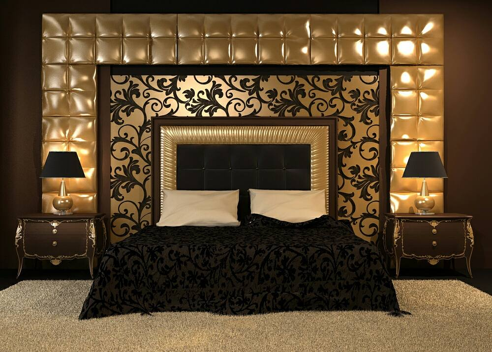 Merveilleux Gold Bedroom Idea   Black Gold Master Bedroom Design With Antique Effect  Side Night Tables And Decorate With Gold Bacround...#EZG #newinteriors  #exterior ...