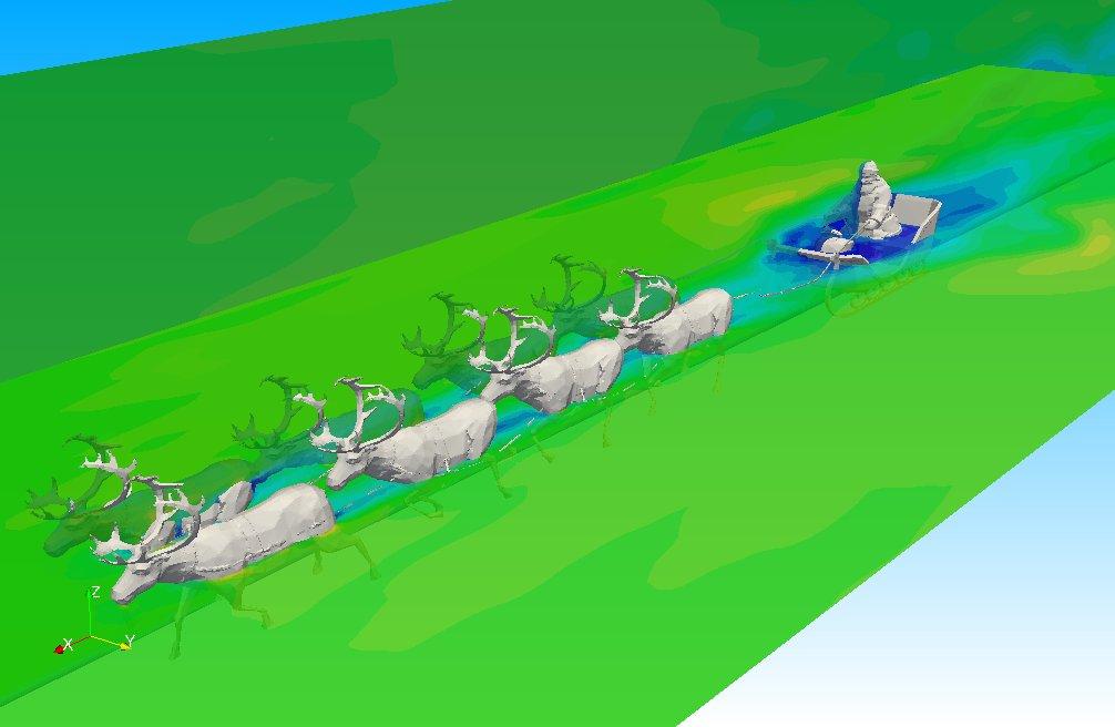 サンタクロース周りの空力解析できた。 #OpenFOAM