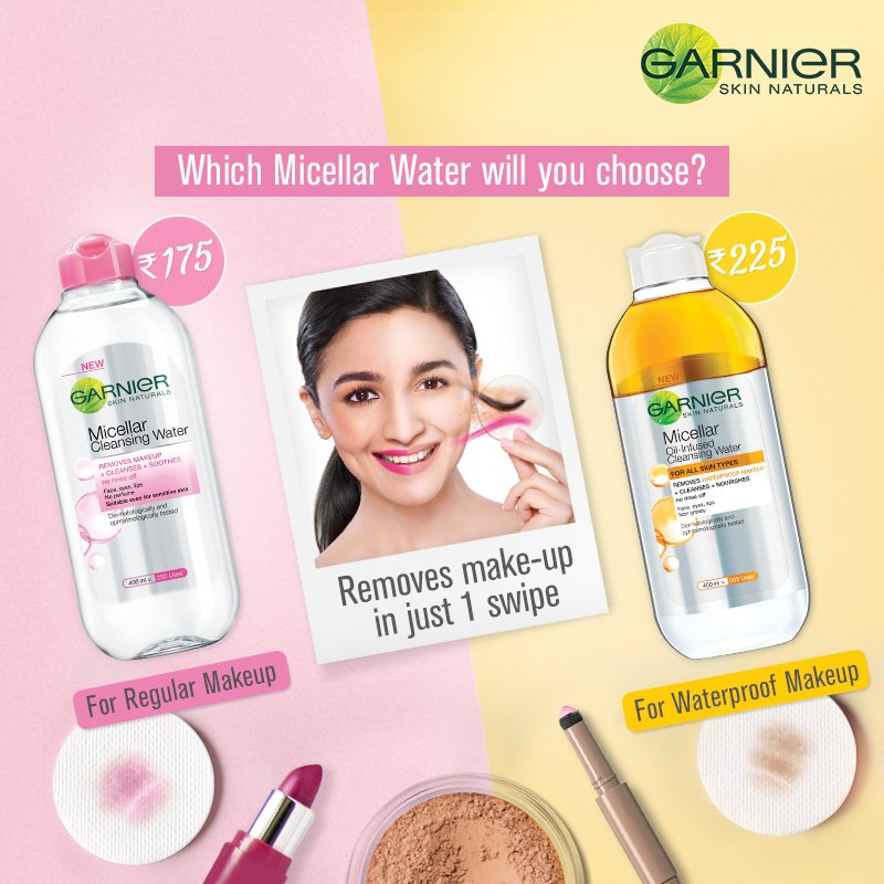 Pink or Yellow? If it's just kajal and lipstick that you wear everyday, pick the Pink Garnier Micellar Cleansing Water. If long wear lipstick & waterproof mascara is more your style, go with Garnier Oil-Infused Micellar Water. https://t.co/7f3ggmUHpj