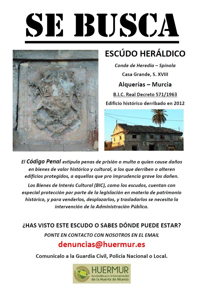 Búsqueda del escudo heráldico (BIC) de Casa Grande en Alquerías (Murcia), desaparecido en 2012 tras el derribo de la casa. Denunciado en la Guardia Civil, a día de hoy continua desaparecido