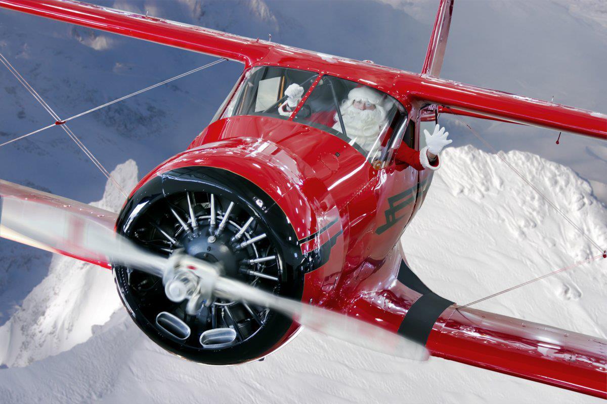 Новогодняя открытка авиационная