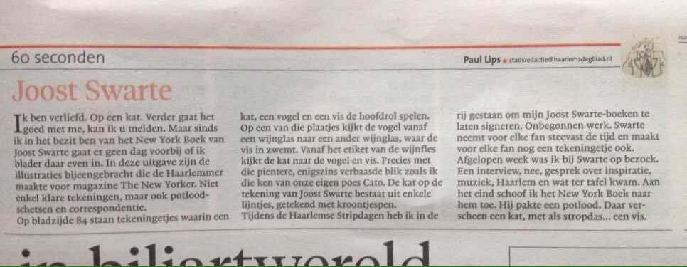 Paul Lips On Twitter Column 60 Seconden Joost Swarte Haarlems