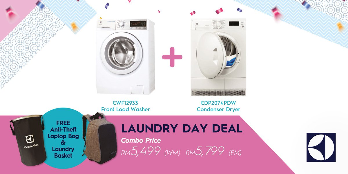 get the electrolux ewf12933 and the electrolux edp2074pdw condenser dryer for just rm5499 with our laundry day package deal whatu0027s more you get a free