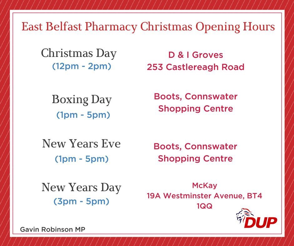 Pharmacy Open Christmas Day.East Belfast Dup On Twitter In The Event Of Needing A