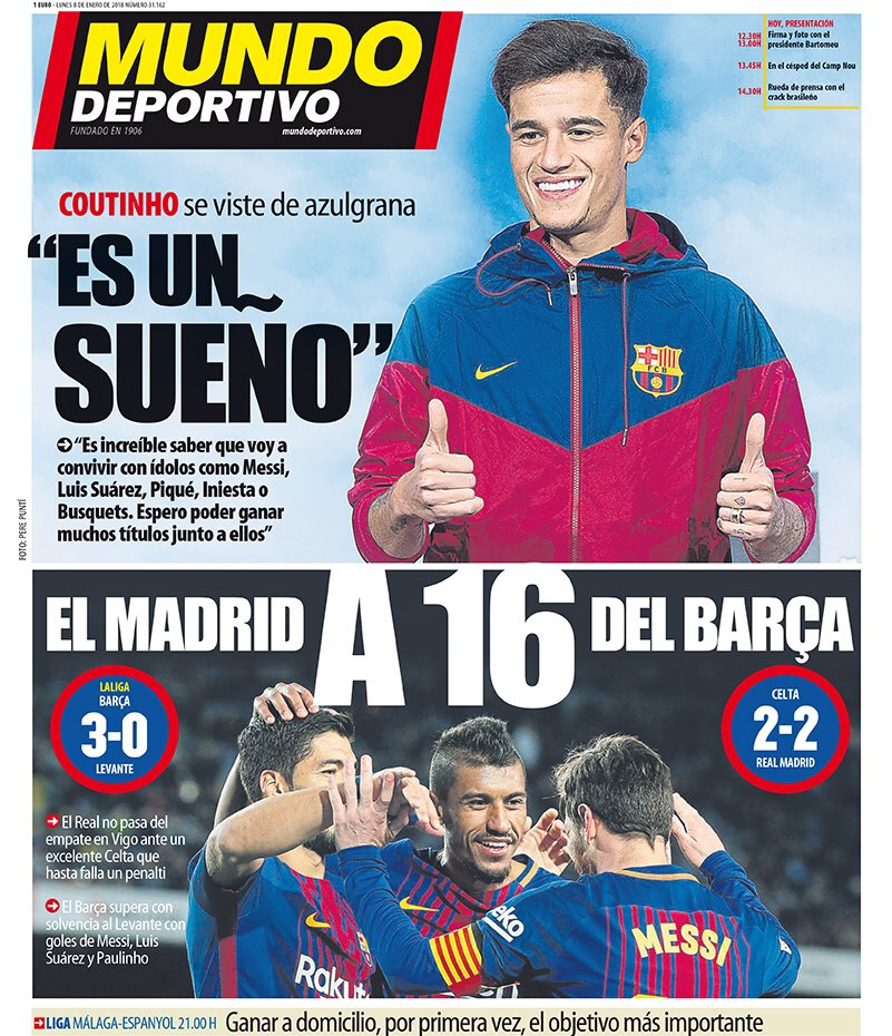 #MD/ « Cest un rêve » • Coutinho shabille en blaugrana. « Le Real Madrid à 16 points du Barça » • Le Real a fait match nul 2-2 à Vigo. Le Celta a manqué un penalty. Le Barça domine Levante avec des buts de Messi, Suarez et Paulinho.