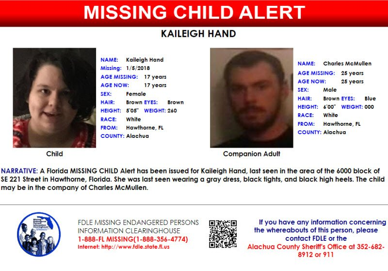 FDLE ISSUES MISSING CHILD ALERT