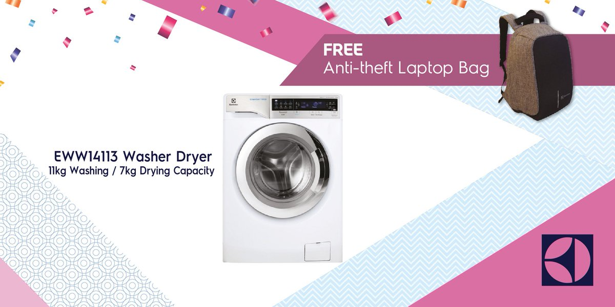you can now have the electrolux eww14113 at rm5499 and receive a free antitheft laptop bag worth rm299 with the laundry day