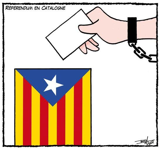 El dibuixant quebequès Bado (Guy Badeaux) il·lustra així el referèndum català a #IllegalTimes. Merci, @guybadeaux!