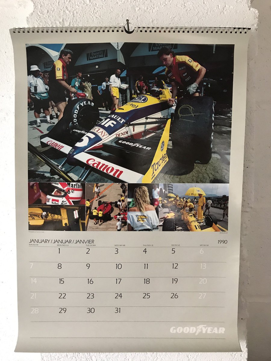 So it turns out that this years days are the same as 1990. So I have got one of my old Goodyear calendars out. #oldskoolracing <br>http://pic.twitter.com/dweELMBGy0