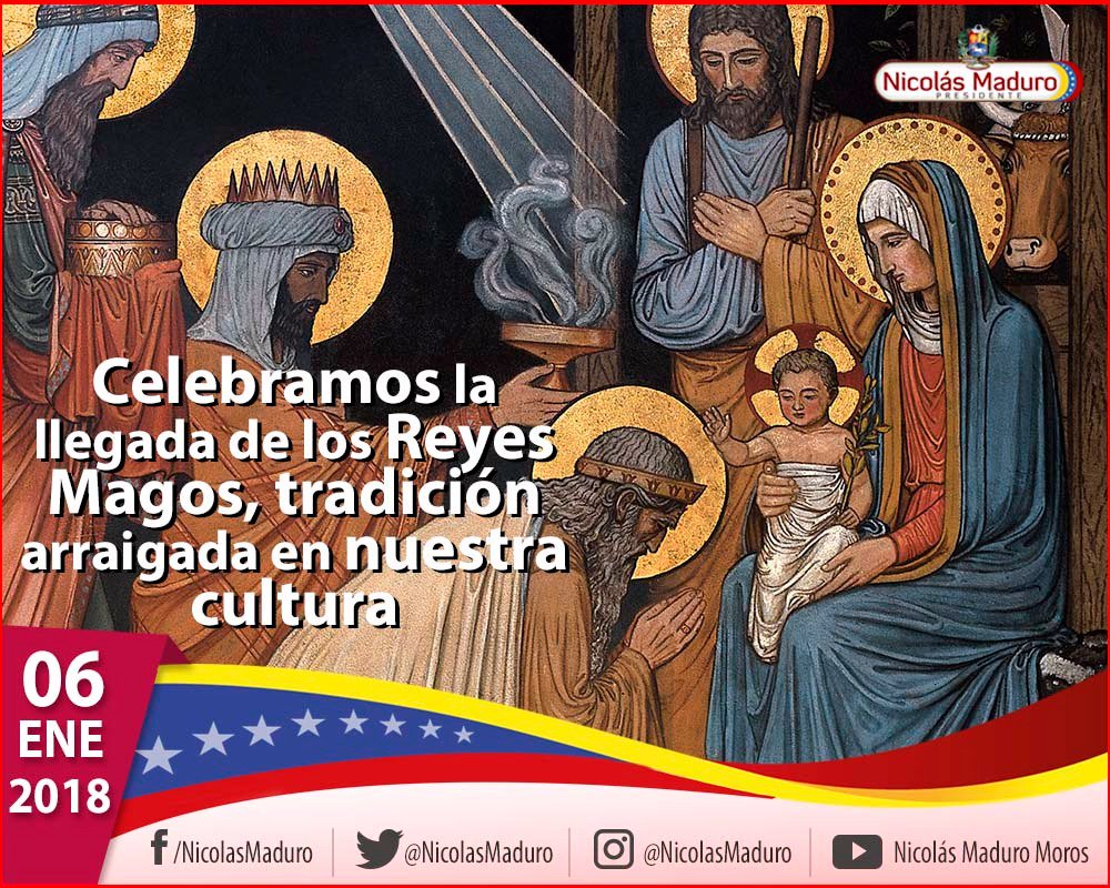 Hoy celebramos la llegada de los Reyes Magos, quienes en su tiempo visitaron a nuestro Señor Jesús de Nazaret para entregarle presentes espirituales y materiales. Como parte de nuestras tradiciones, el pueblo venezolano se reúne en familia en conmemoración de nuestro Niño Dios. https://t.co/QUgD1gl83C