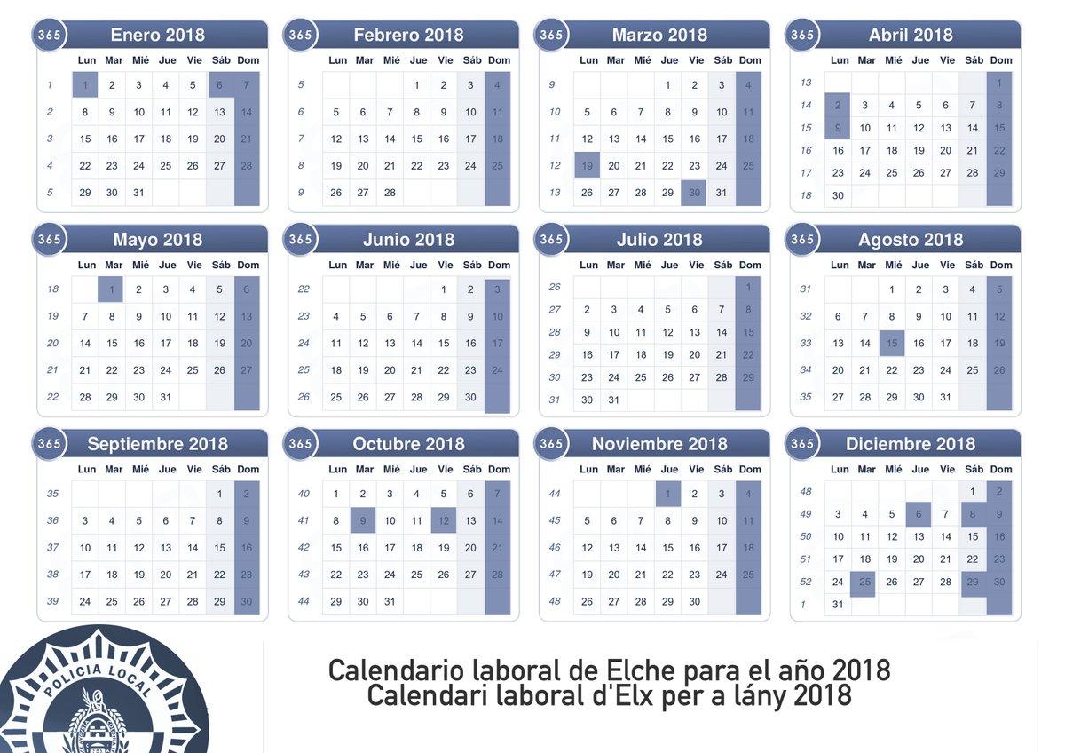 Calendario Laboral Elche.Policia Local Elche On Twitter Calendario Laboral De Elche Para