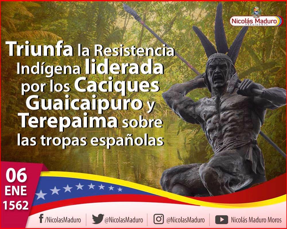Rememoramos 456 años de la gesta del primer grito de Independencia, de Soberanía y de Dignidad de nuestros pueblos originarios, liderados por Guaicaipuro y Terepaima, quienes junto con las tribus: Teques, Caracas y Mariches, derrotaron a las tropas invasoras españolas https://t.co/SxyKWPxKWf