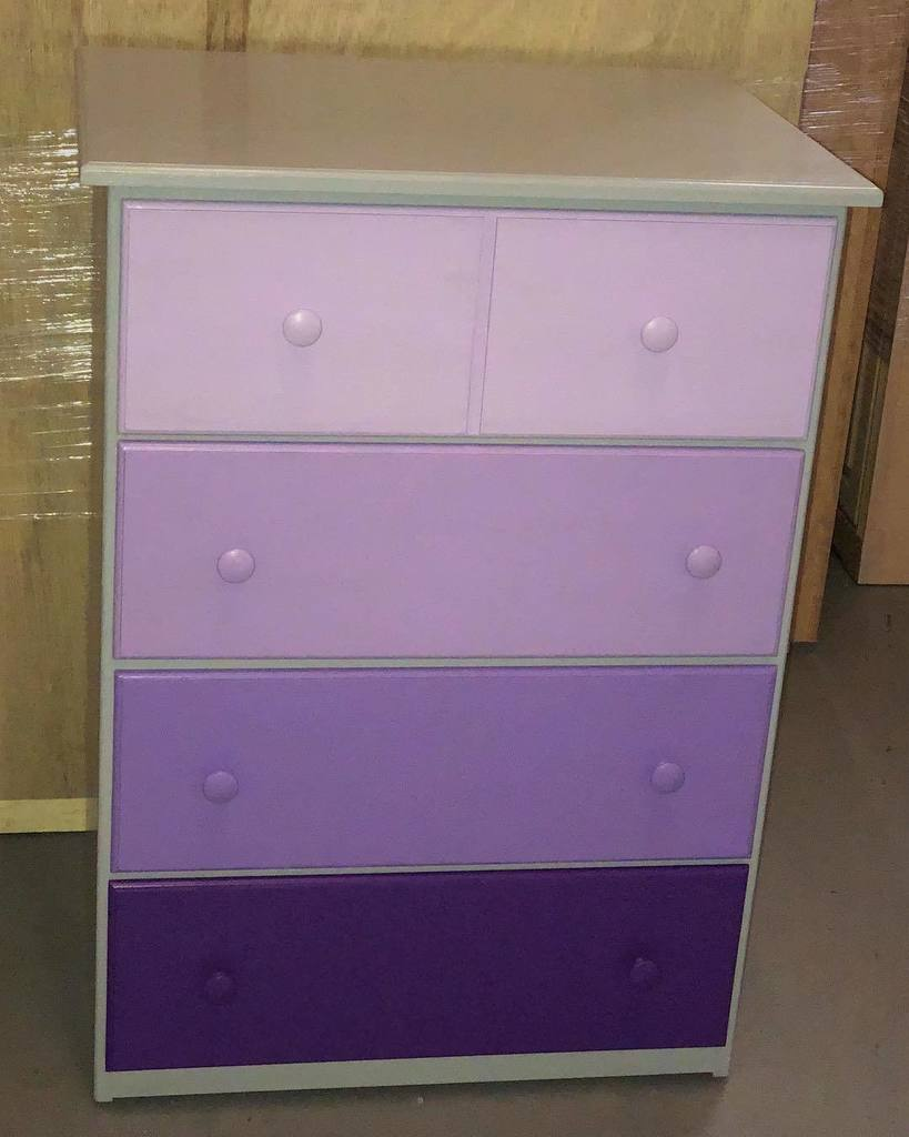Graduating Purple Drawers In A Grey Case Create A One Of A Kind Piece Of  Furniture. #ombrepaint #realwood #paintedfurniture #alexandriava ...