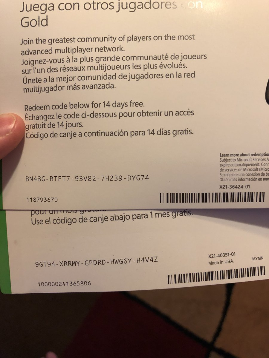 xbox live gold free trial code 2018