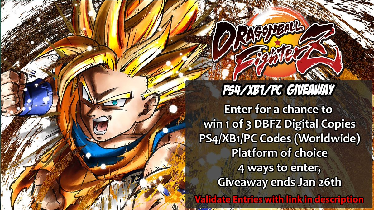 FOLLOW @DBZanto & RETWEET TO ENTER DRAGON BALL FIGHTERZ GAME CODE GIVEAWAY (PS4/XB1/PC) & Watch the video to validate your entry youtu.be/ikUstySurNE #DragonBallFighterZ