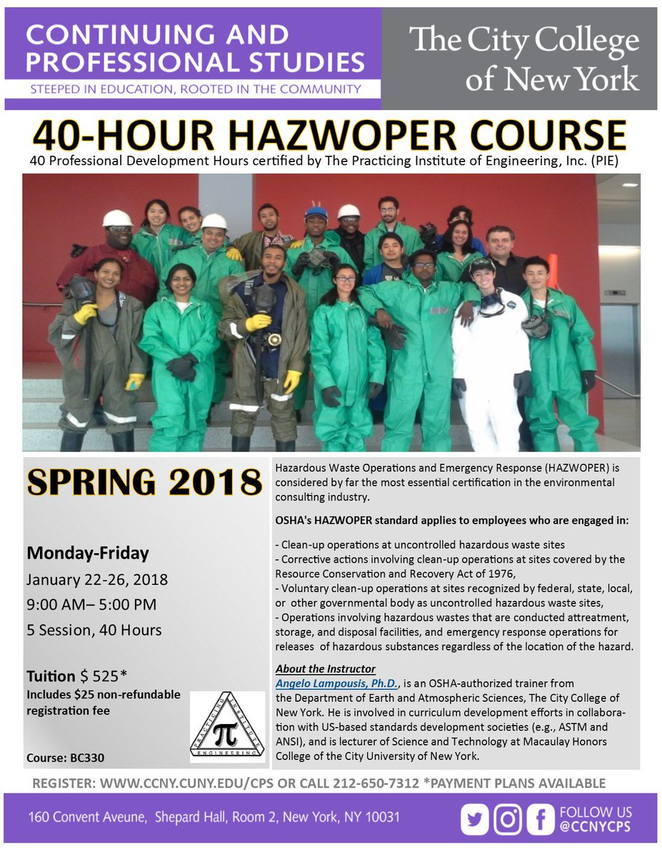 Ccny Cps On Twitter Register Today For Our 40 Hour Hazwoper