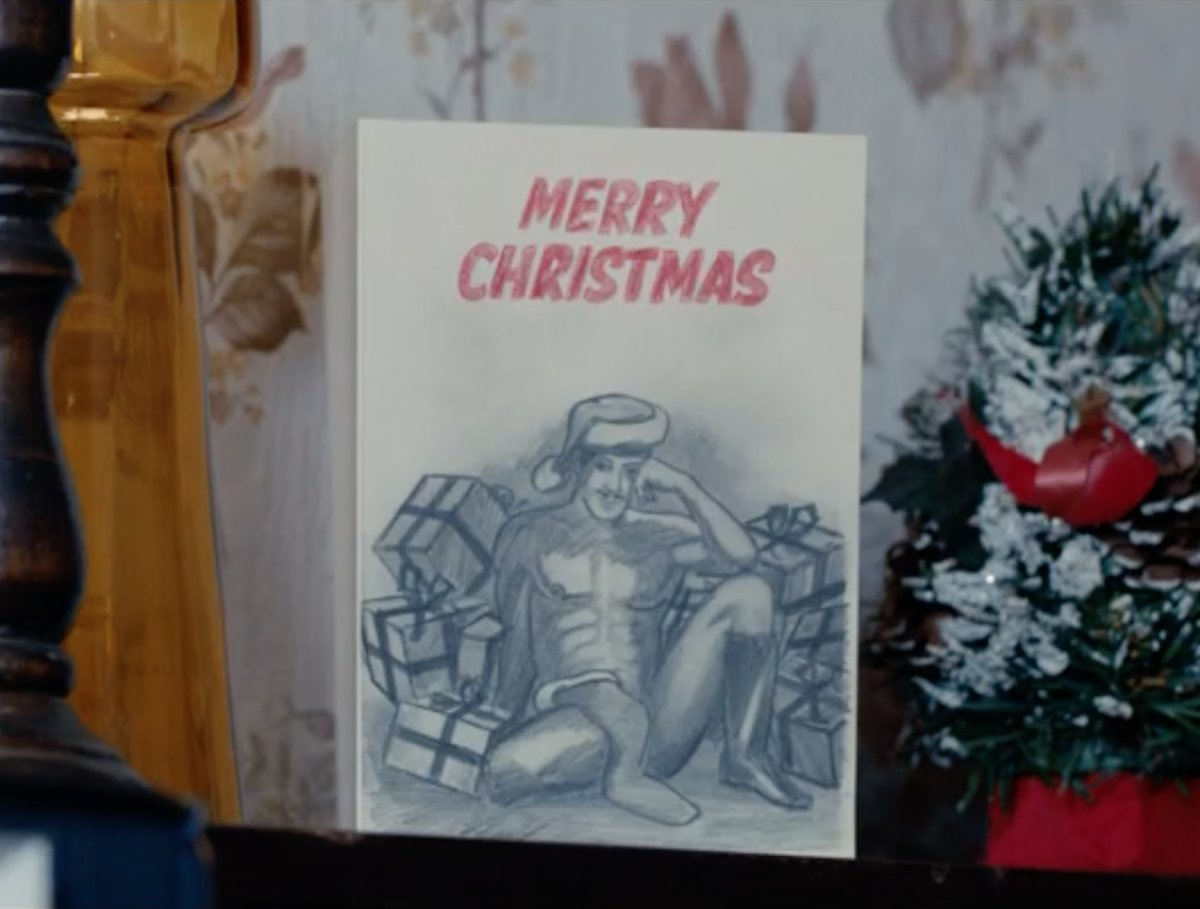 there is a scene with a dildo but it is fleeting and a comedy prop the naked man shot is a drawing on a christmas card attached and completely - The Christmas Card Imdb