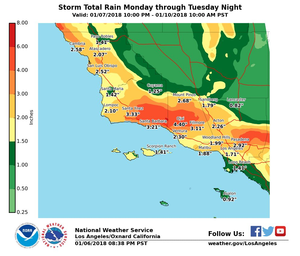 Latest storm total estimates have been increased valid Monday through Tuesday night. Coast/valleys can expect 1-3' and foothill/mountains can expect 3-5' with local totals up to 6'. Significant flash flood/debris flow threat for recent burn areas. #CAstorm #LArain #cawx