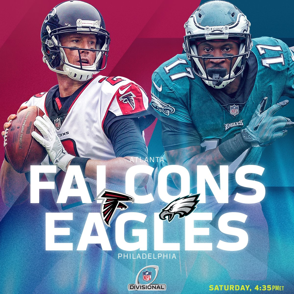 Image result for 6 Atlanta Falcons vs. 1 Philadelphia Eagles