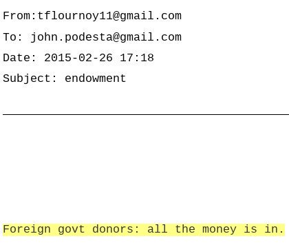 'All the [foreign government] money is in.' Bill Clinton Chief of Staff Tina Flournoy tells Hillary campaign chair John Podesta in February 2015. https://t.co/pkWGHbdq9U