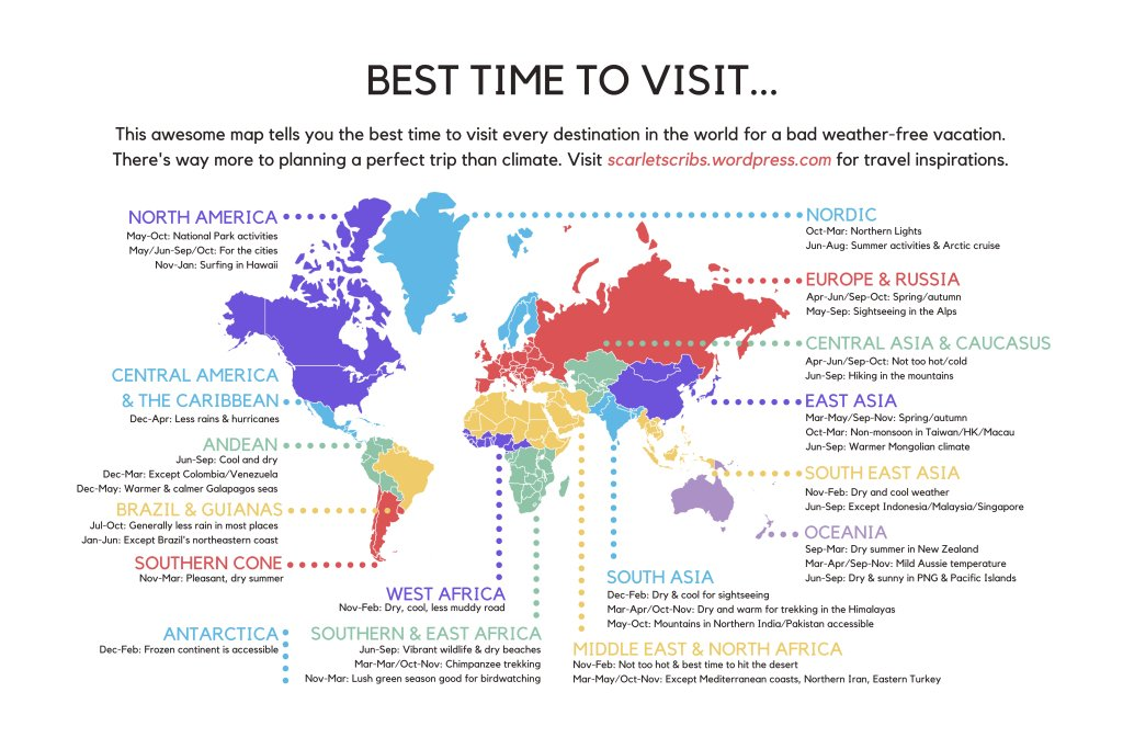 This Awesome Map Tells You the Best Time to Visit Every Destination in the World https://t.co/HaLsmKJyxu https://t.co/hEpAbo488P