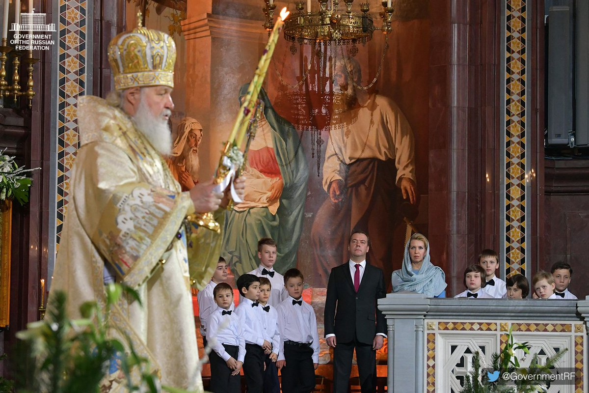 Dmitry Medvedev attended the main Christmas service at the Christ the Saviour Cathedral