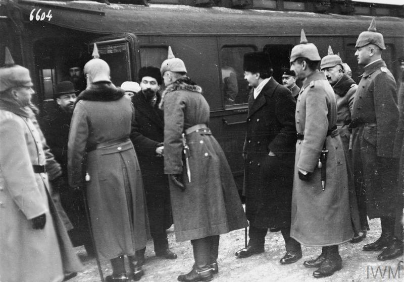 Jan 7, 1918 - German officers welcoming Soviet delegates, including Trotsky (center), arriving at Brest-Litovsk for new round of peace negotiations #100yearsago