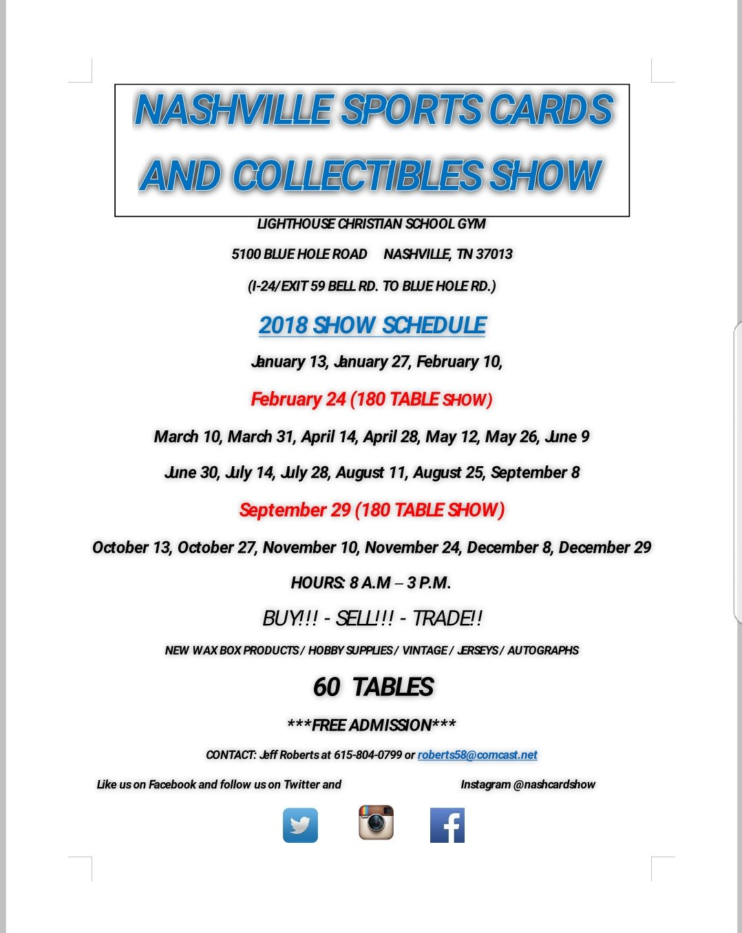 Nashville Card Show On Twitter Here Is Our 2018 Show