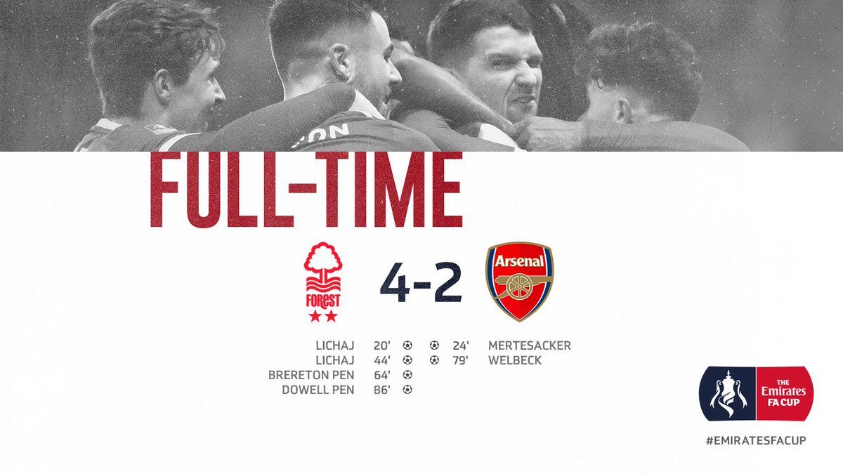 Full-time: #NFFC 4-2 Arsenal (Lichaj 22', 44', Brereton pen 64', Dowell pen 86'); Mertesacker 24', Welbeck 79')  Report and reaction to follow from The City Ground...