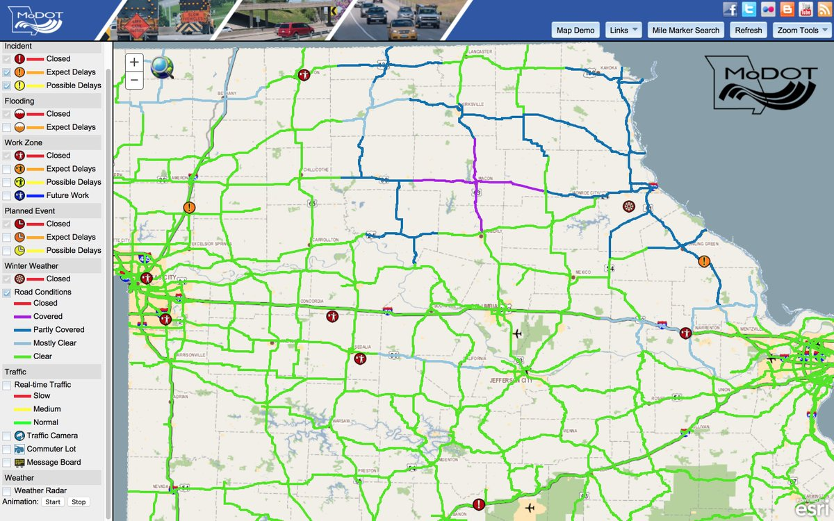 jacob cavaiani on twitter this is what the modot traveler map  - jacob cavaiani on twitter this is what the modot traveler map looks likeright now ( pm) komunews…