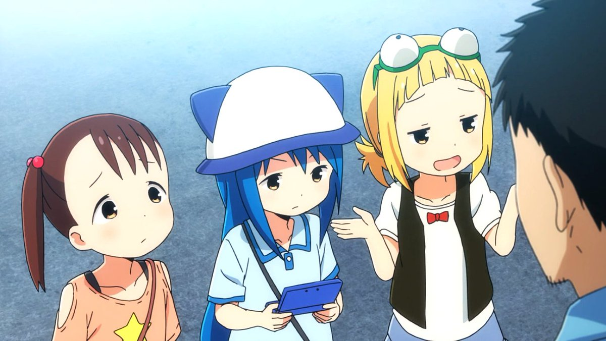 Mitsuboshi colors ep1 a group of girls terrorizing the neighborhood reminds me of strawberry marshmallows miu malrock also lots of poop