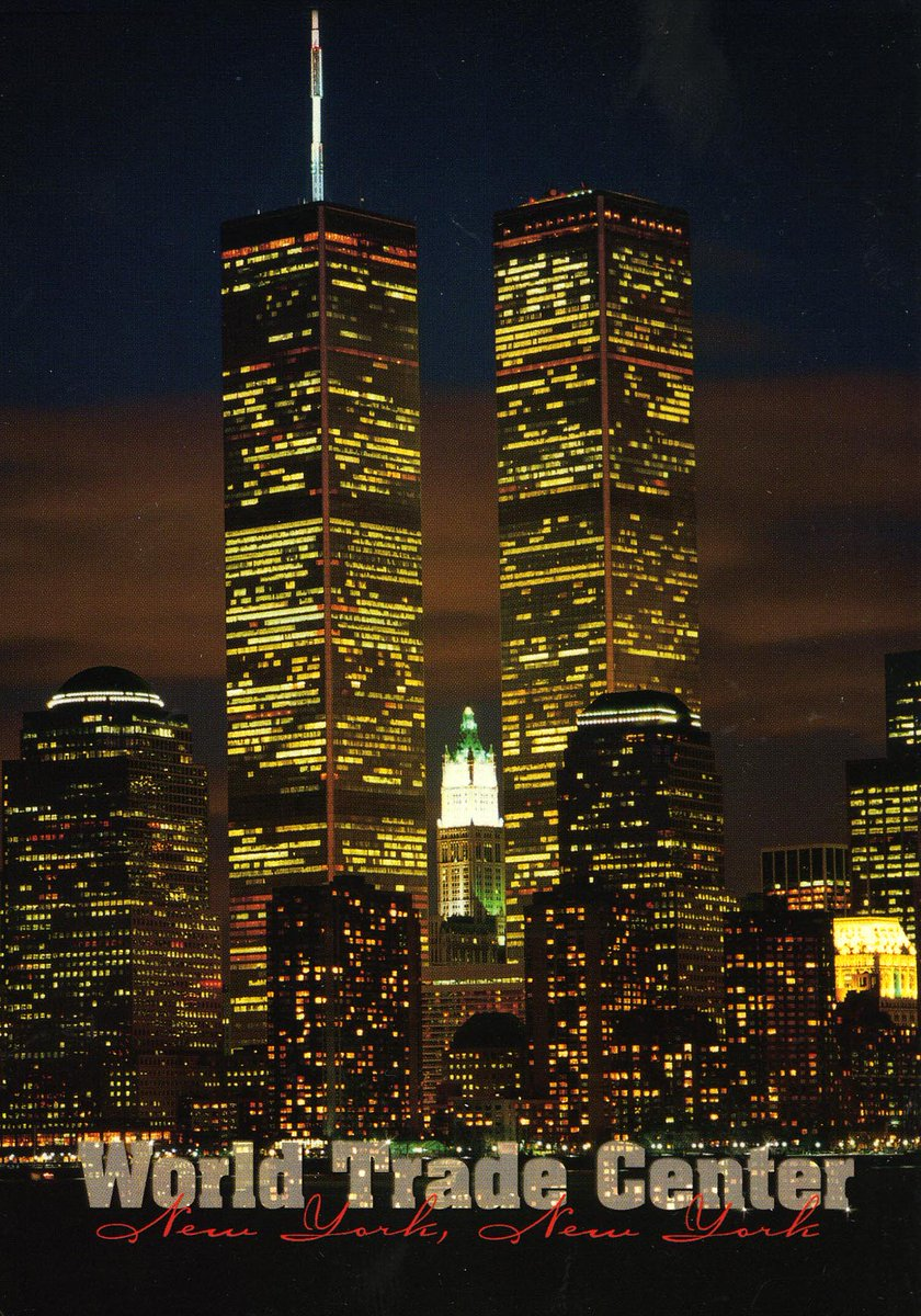 A postcard from the #911Museum collection featuring the iconic #TwinTowers. We will #NeverForget.