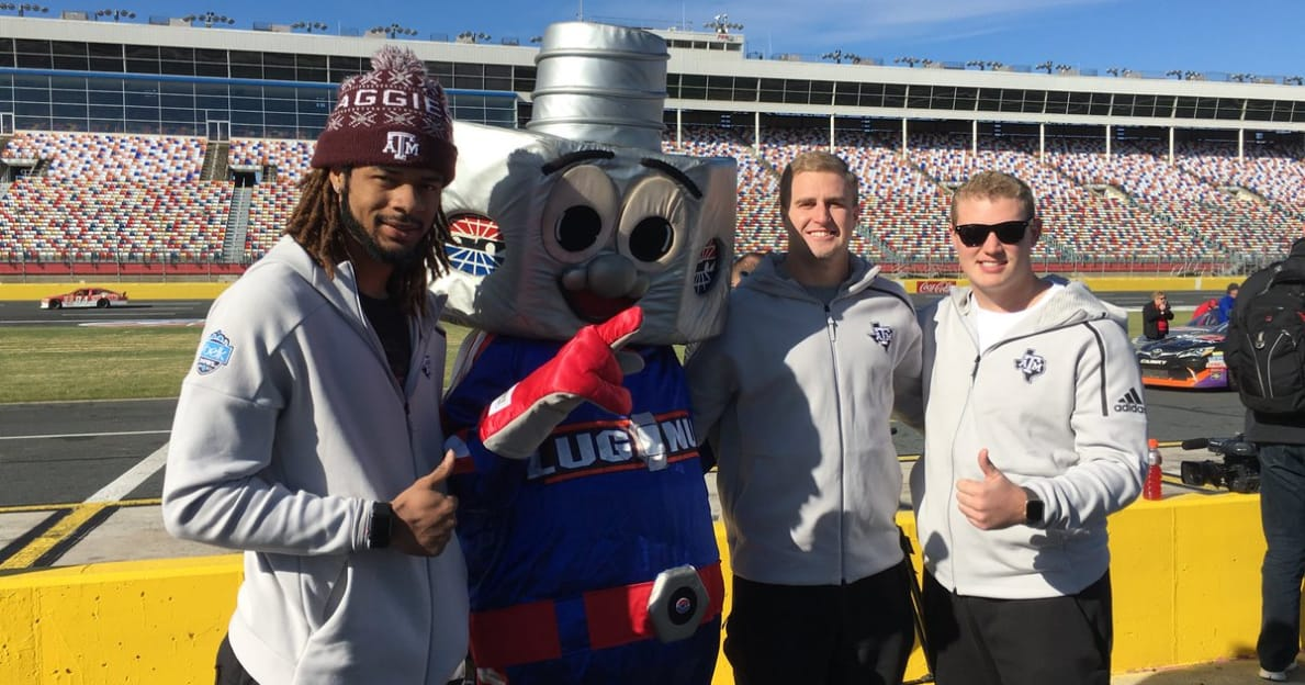 WATCH: Texas A&M players visit Charlotte Motor Speedway for NASCAR experience ahead of Belk Bowl