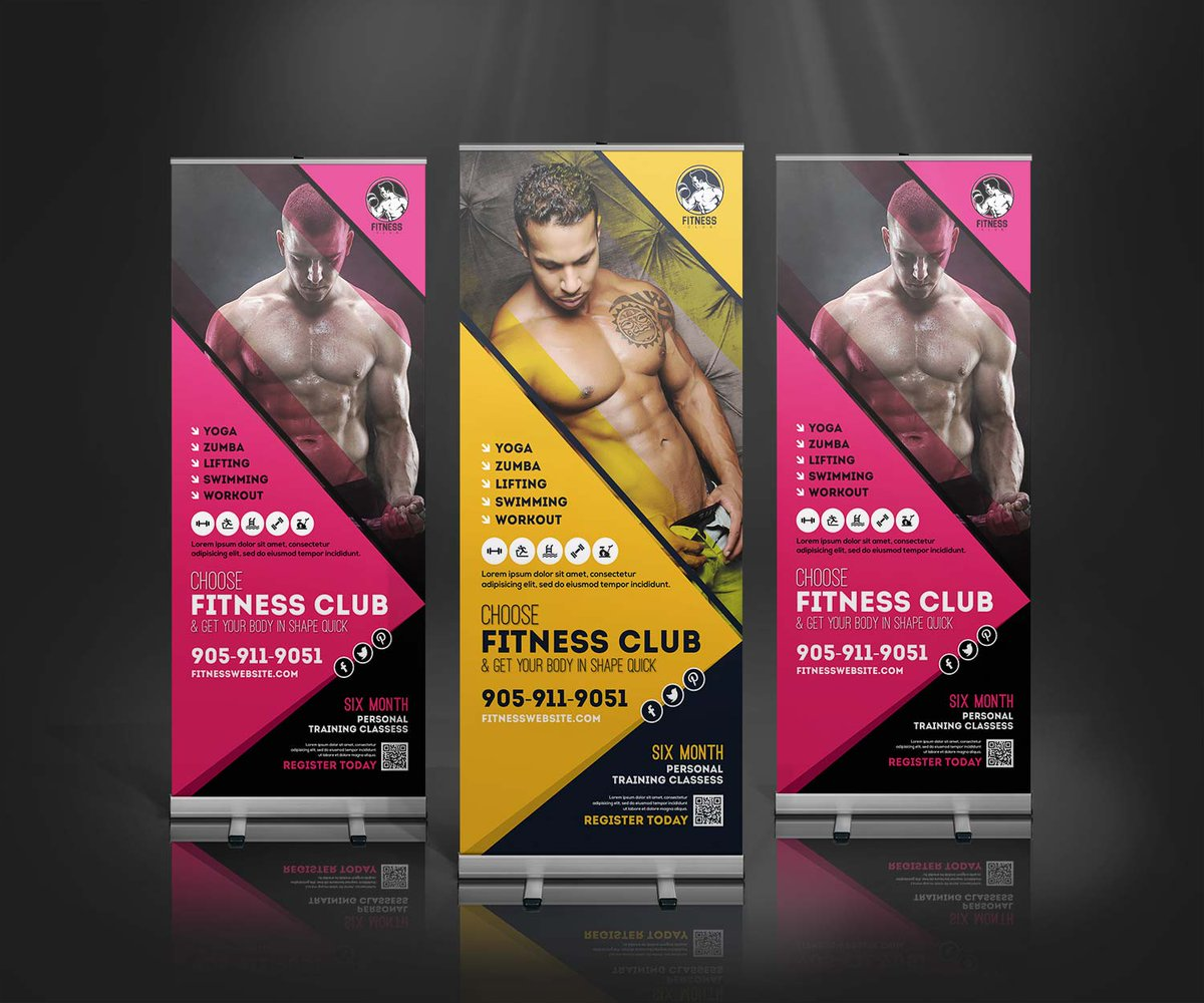 Design Genisys On Twitter Creative Fitness Rollup Banner Design