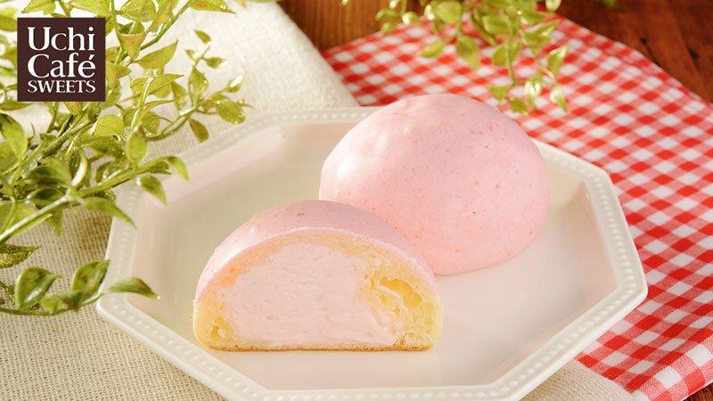 「イチゴチョコが掛かったもちぷよ(とちおとめ苺クリーム)」発売中です(^^)もちもち食感でおいしいです♪ #ローソン #ウチカフェ #スイーツ