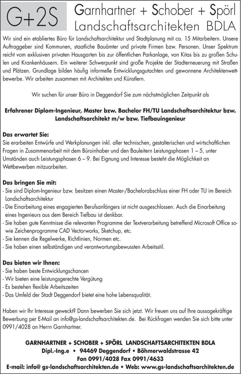 """stellenmarkt-direkt on Twitter: """"Ingenieur/in #Landschaftsarchitektur in  #Deggendorf #Bayern gesucht:#Ingenieur #arbeit #beruf #deutschland #jobs… """""""