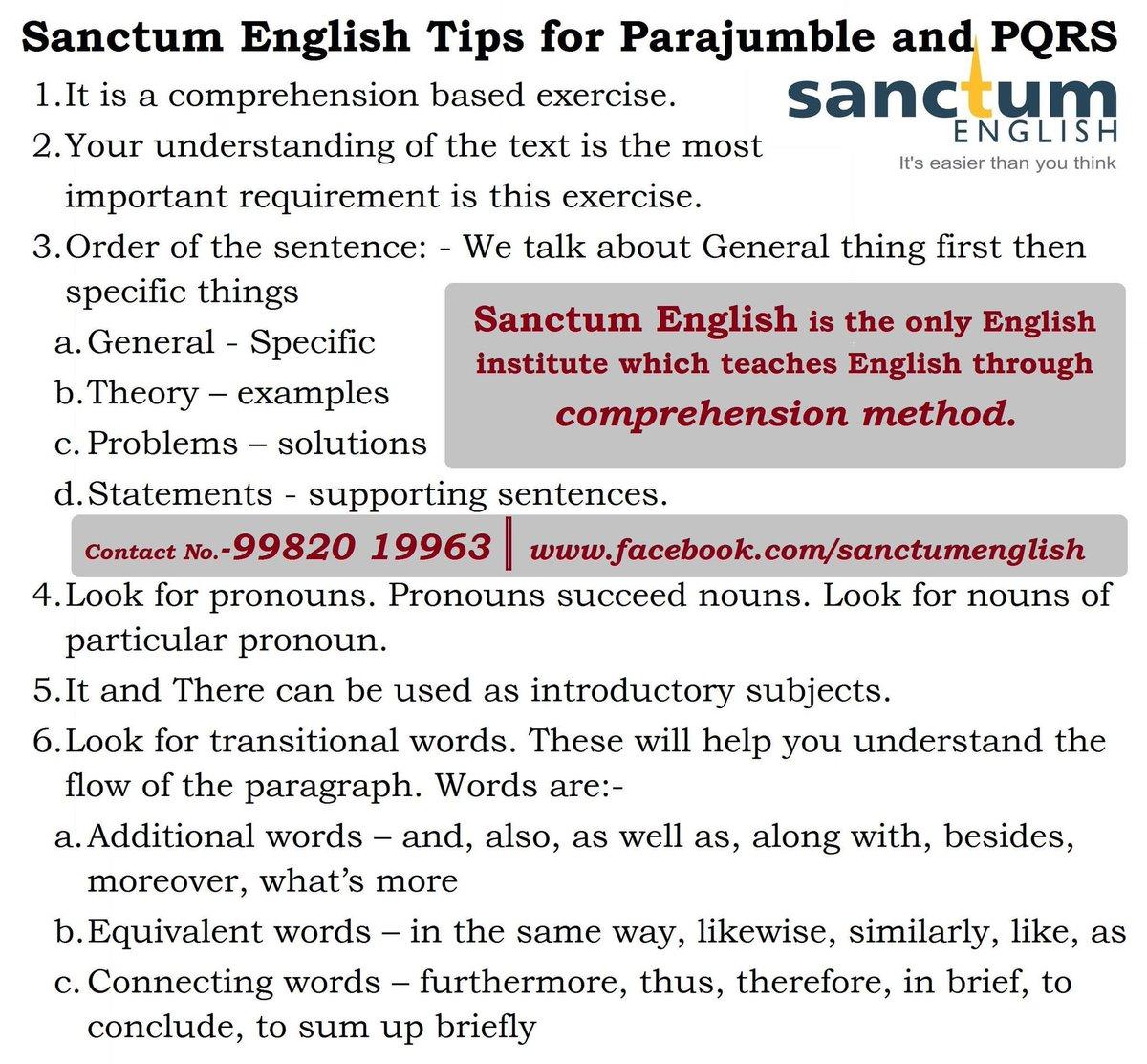 Languagelearning English Tips For Pqrs Parajumble Sentencearrangement Sbi Ibps Po Clerk Ssc Cglpic Twitter Iboymp4g7f