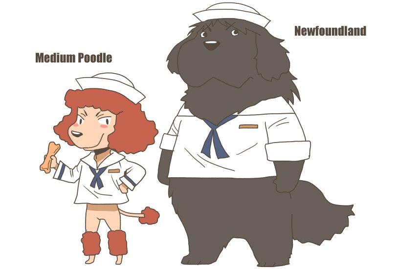 どうしても描きたくて描いたニューファンドランドムラカミ それとミディアムプードルのラム #ガルパン最終章 #犬化