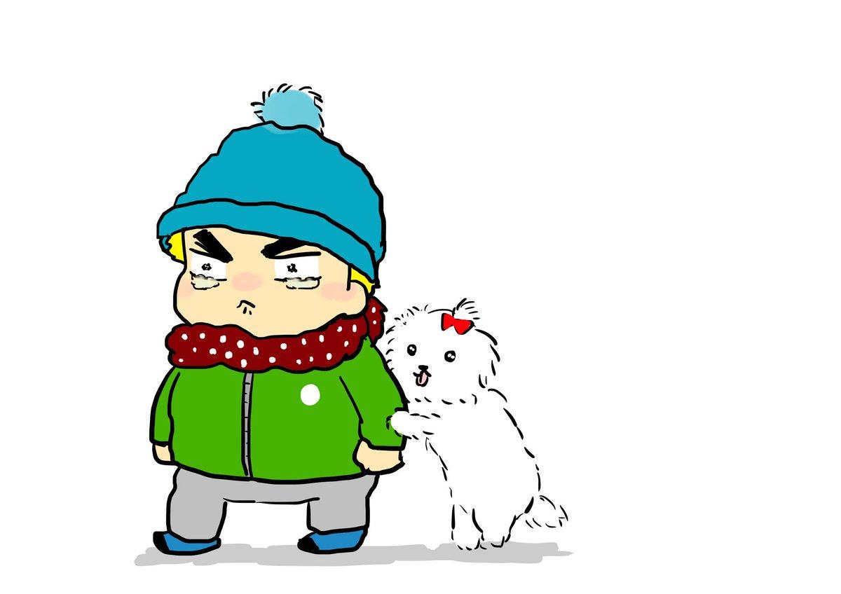 犬に好かれて怯えるじゅいちくんを描きました
