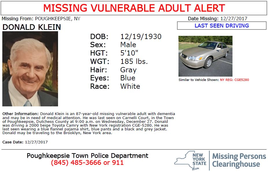 #MissingVulnerableAdult Donald Klein an 87-year-old white male from Poughkeepsie, NY. Driving a 2000 beige Toyota Camry with NY registration CGE-5280. May be driving to Brooklyn, NY. Seen?  Call 9-1-1. Multilingual & ASL link: .https://t.co/YuJCWUmziH
