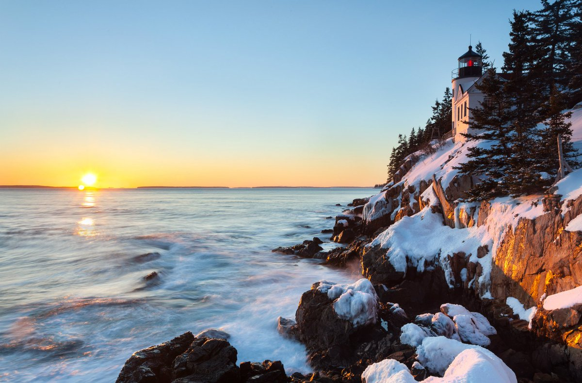 Spectacular winter sunset @AcadiaNPS by Kevin Davis #Maine
