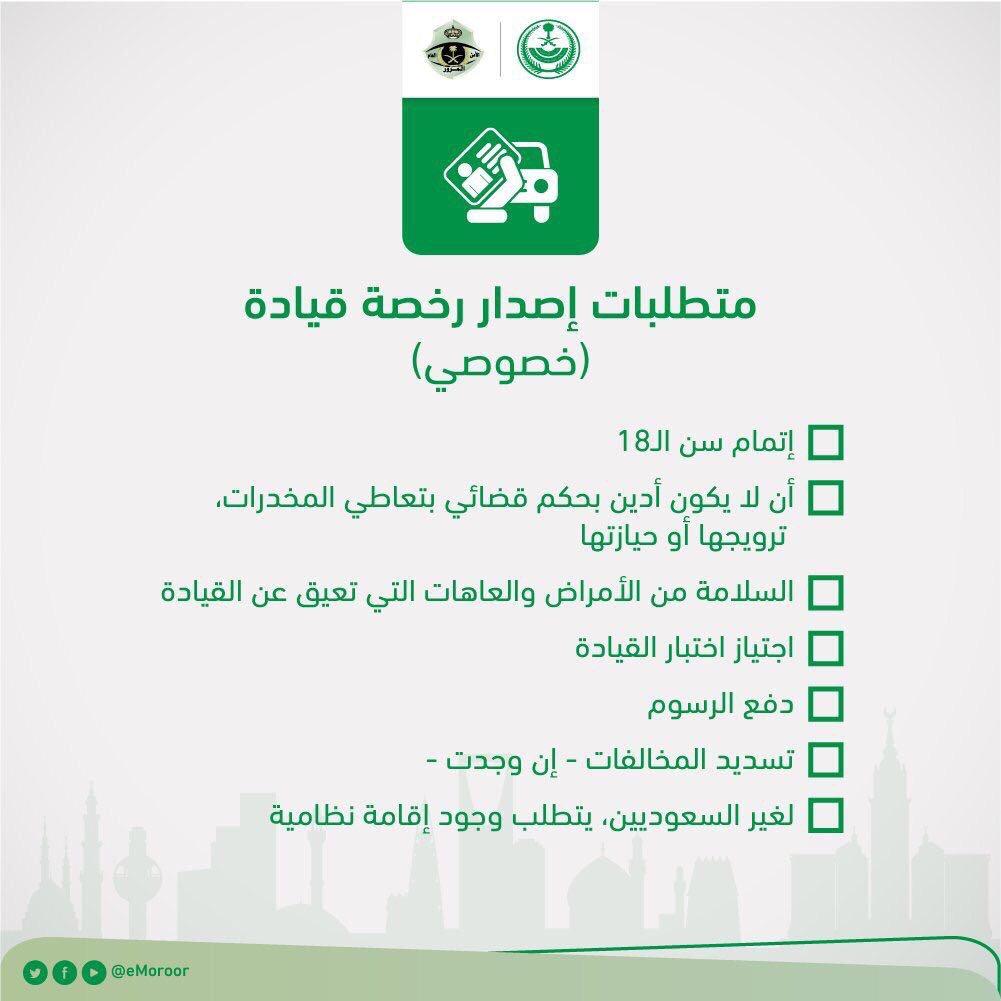 المرور السعودي على تويتر مرحبا بك تفضل بالاطلاع على متطلبات إصدار رخصة قيادة خاصة بعد اكتمال المتطلبات تفضل بمراجعة مدرسة تعليم القيادة وتقدم بطلبك شكرا لتواصلك Https T Co Iegkfwlvdv