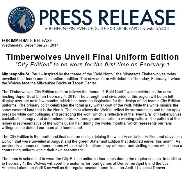 Timberwolves PR on Twitter