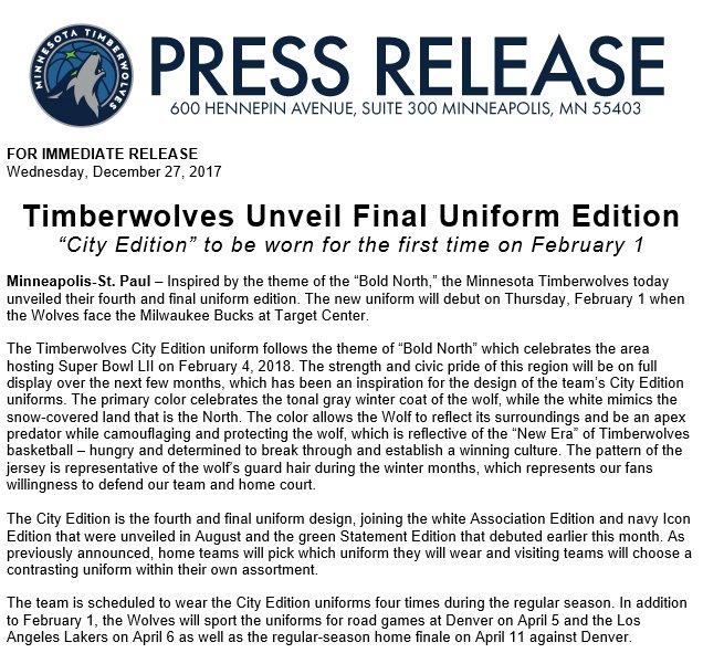 4117cfdb8 Timberwolves PR on Twitter