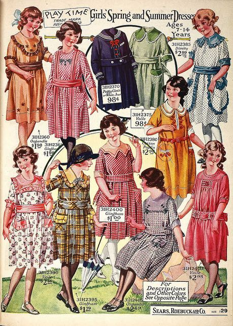 Early twentieth Century girls clothing design illustration.